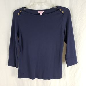 Lilly Pulitzer Boatneck Tee Button Shoulder Navy